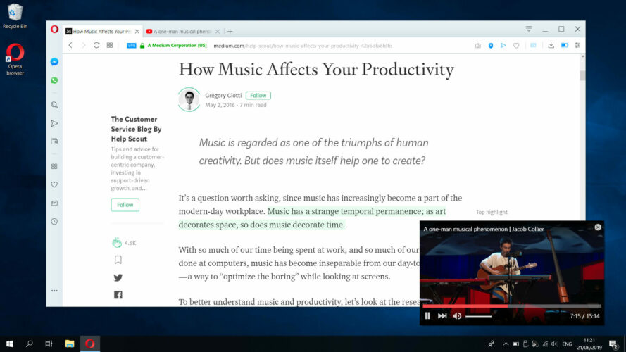 Opera browser video pop-out functionality