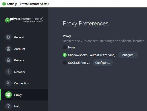 configure proxy settings in Private Internet Access
