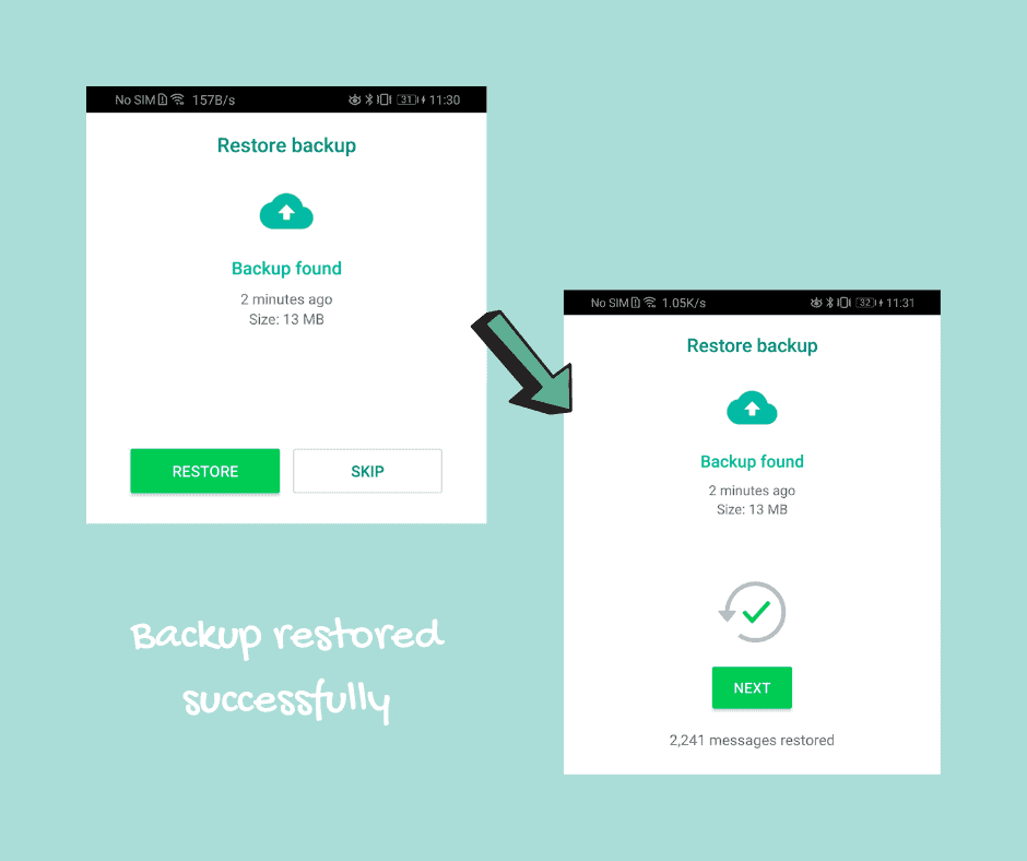 Restore WhatsApp backup on Huawei phone