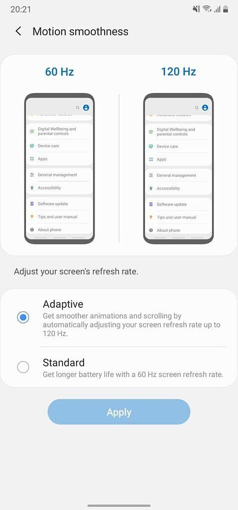 Samsung Galaxy Note 20 Ultra adaptive refresh rate