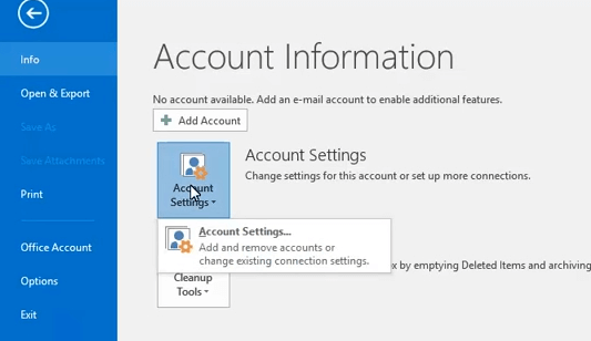 帳戶設置按鈕Outlook錯誤0x8004210B Windows