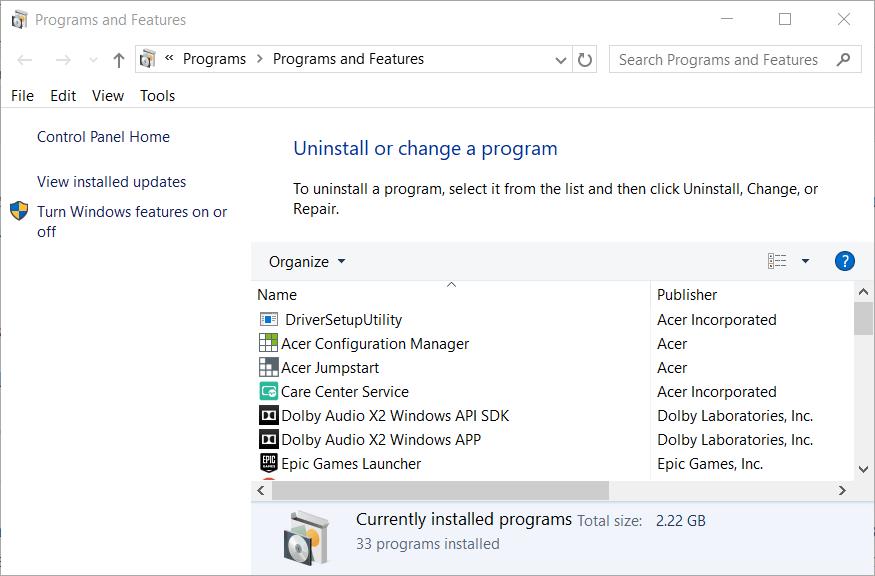 程序和功能小程序Outlook錯誤0x8004210B Windows