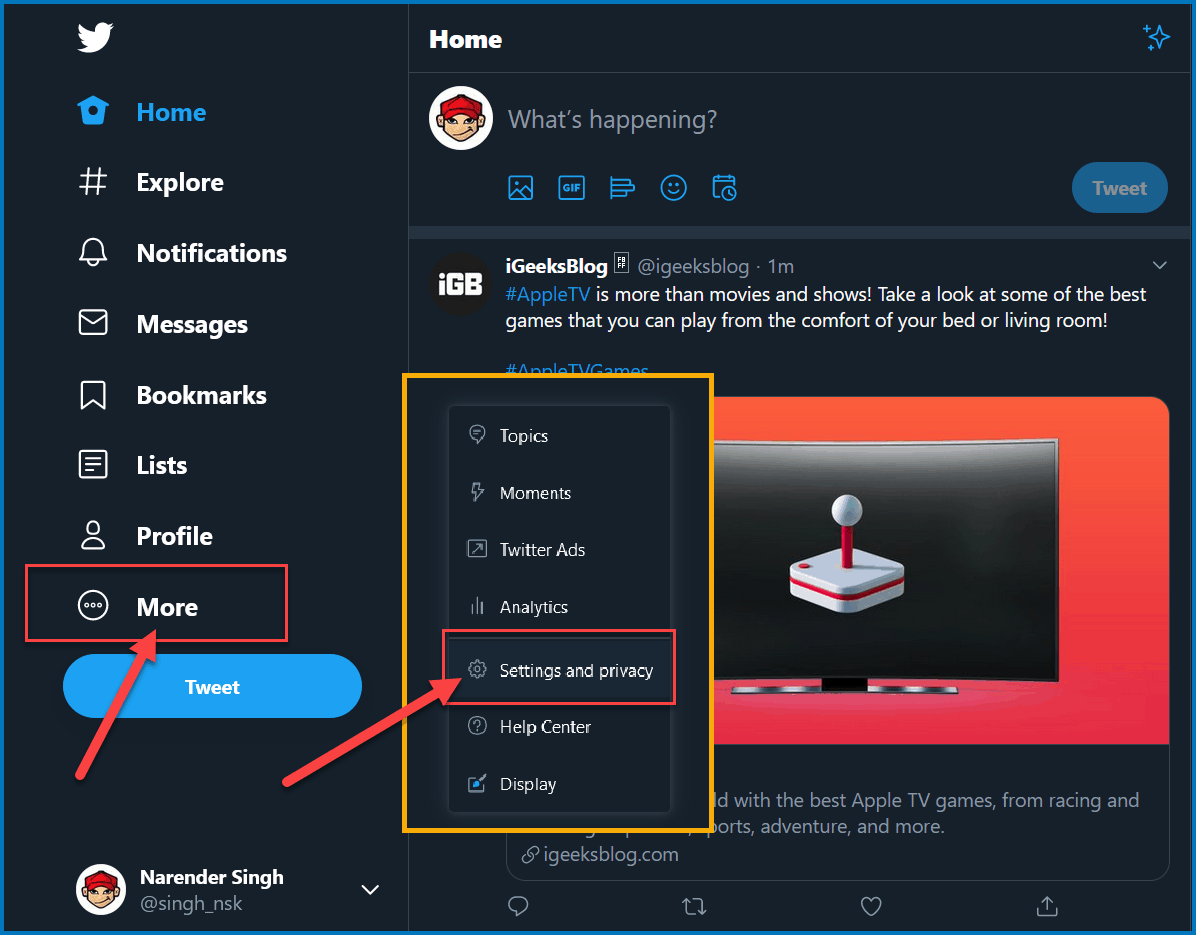 Open Settings in Twitter website