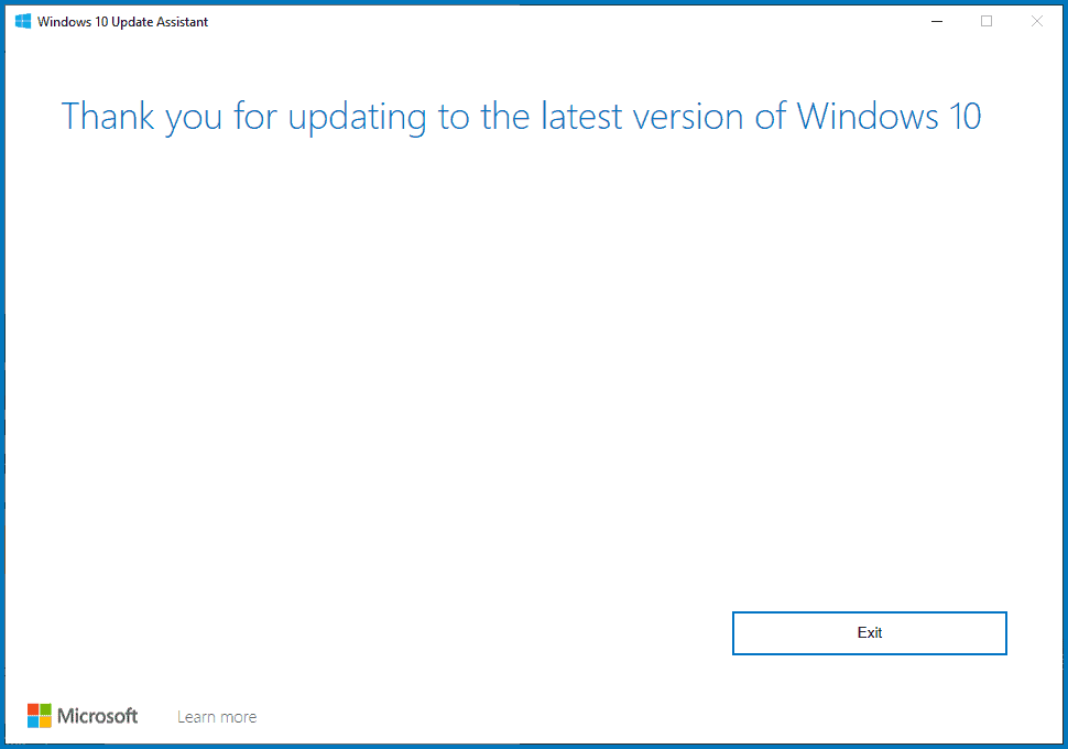 Windows Update complete notification by Update Assistant