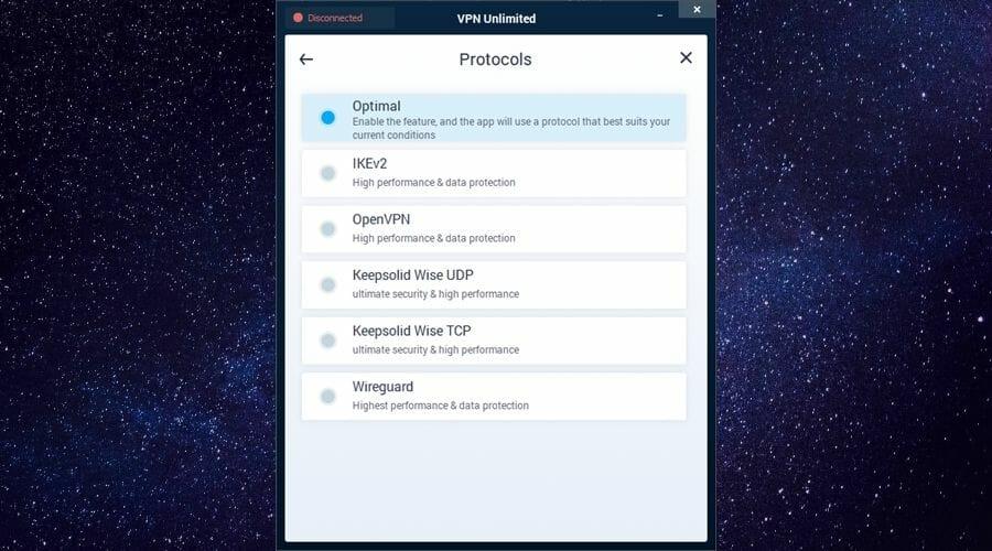 Protocols of VPN Unlimited