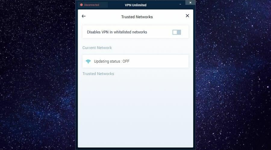Trusted networks menu VPN Unlimited