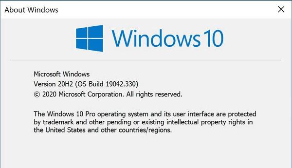 Windows 10 20h2 Winver