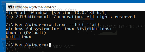 Windows 10 WSL List Distros