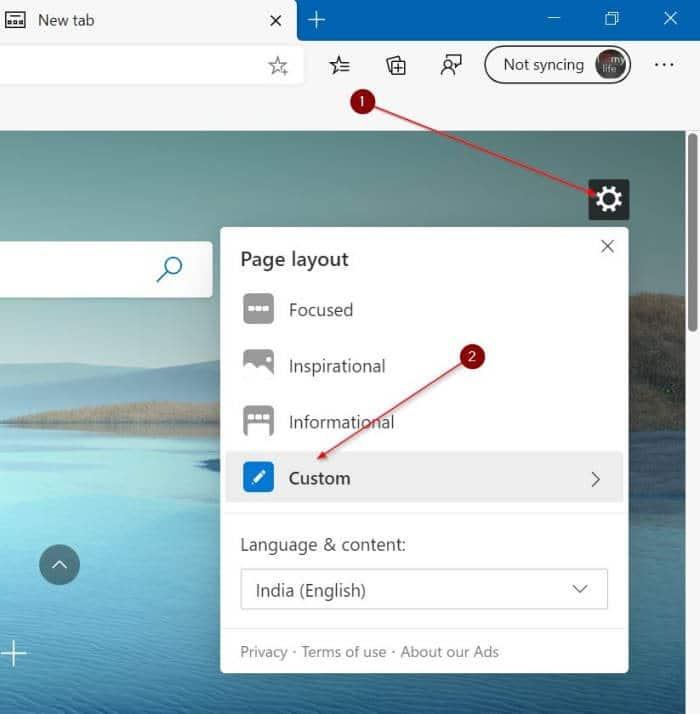 change Microsoft edge new tab background image pic1