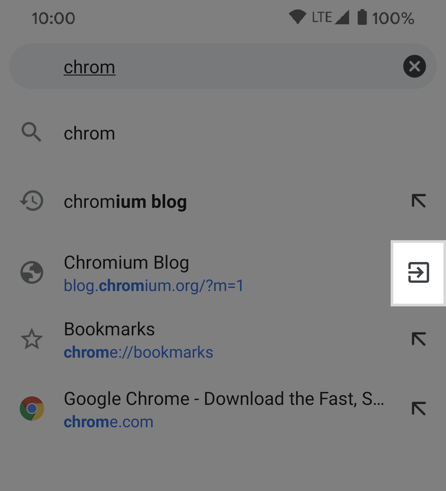 Chrome switch to tab on Android