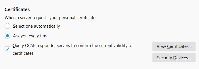 Query OCSP responder option firefox error SEC_ERROR_OCSP_FUTURE_RESPONSE