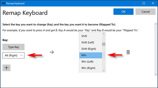 In PowerToys, select a key and assign it to Windows key in Keyboard Manager on Windows 10