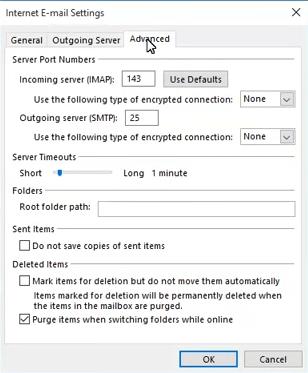 """""""高級""""選項卡上的Outlook錯誤0x8004210B Windows"""