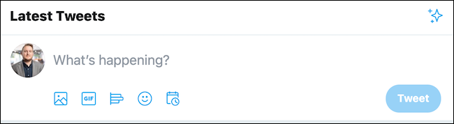 Click the tweet box found at the top of the page