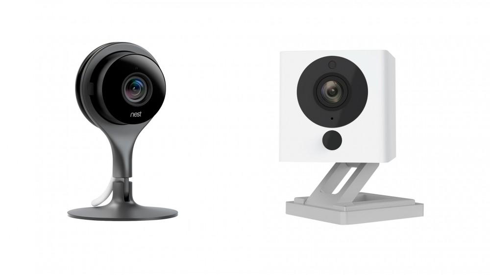 A Nest Camera next to a Wyze camera