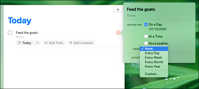 Setting the reminder repeat interval in the Remindes app on a Mac