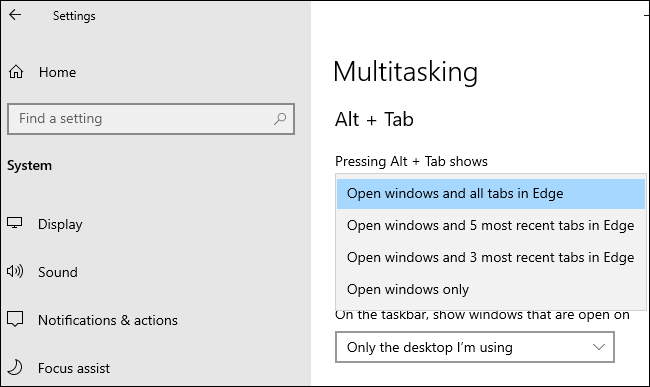 Edge Alt+Tab options under Settings > System > Multitasking.