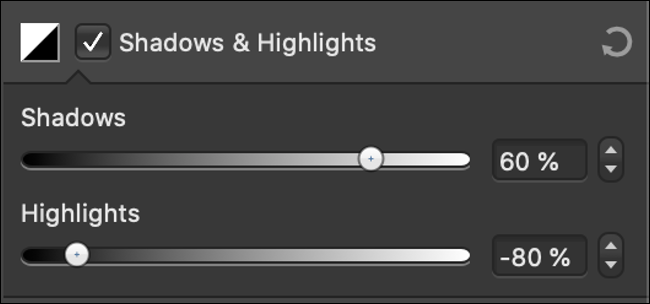 """The """"Shadows and Highlights"""" sliders in a photo editor."""