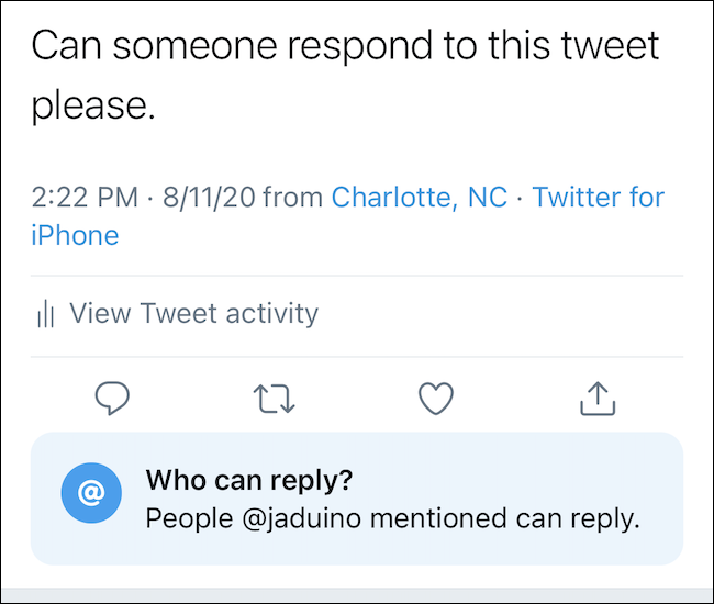 When selected, the tweet will show your reply setting