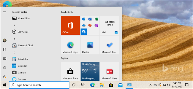 The new light start menu tiles on Windows 10's 20H2 update.