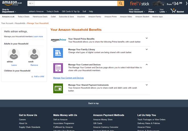 Amazon household profiles