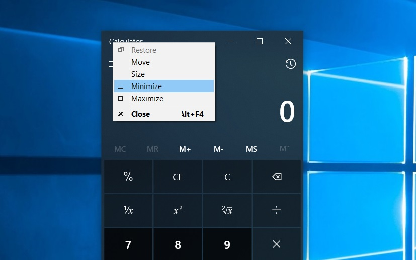 Calculator window