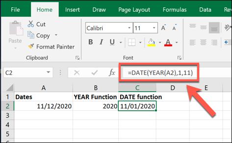 Un exemple de valeur de formule DATE, créée à l'aide de la valeur créée par une formule YEAR dans Excel