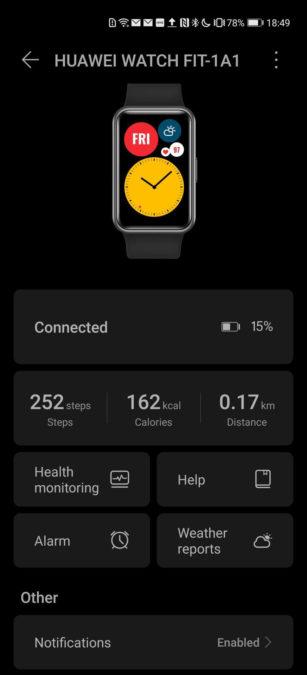Huawei Health app Huawei Watch Fit settings