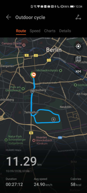 Huawei Health app bike ride route overview