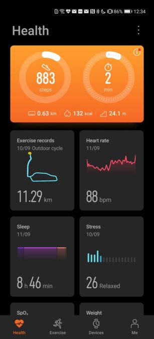 Huawei Health app main dashboard