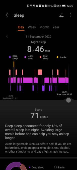 Huawei Health app sleep record