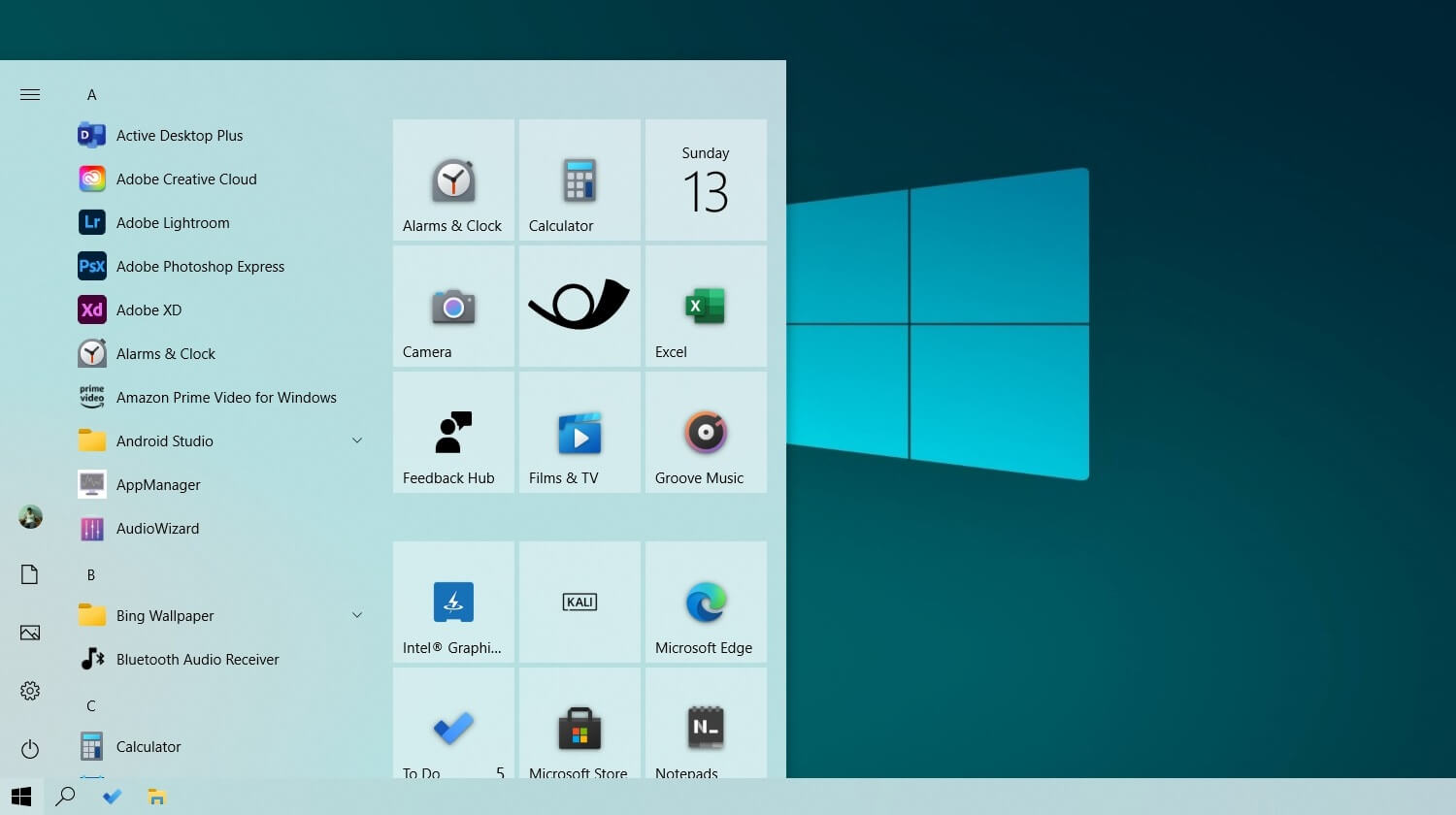 New Start Menu in light theme