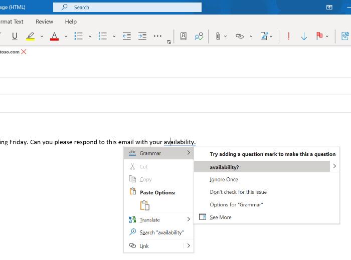 Grammar suggestions in Outlook.