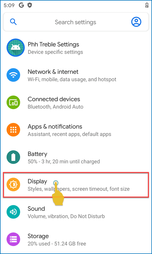 Settings app in Android 11