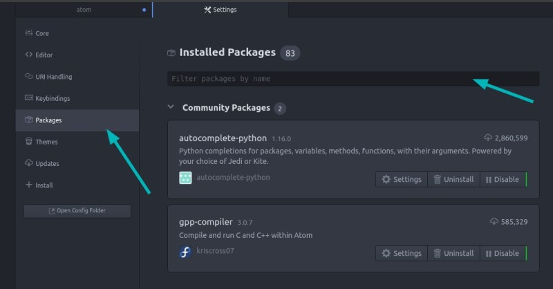 Installed Packages in Atom