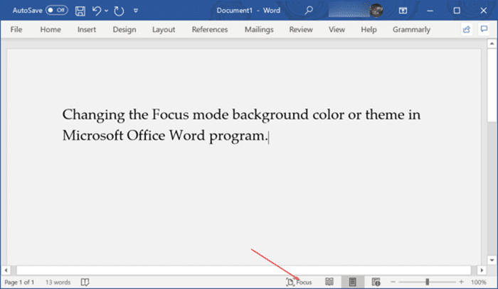 change focus mode background color in Office Word pic2