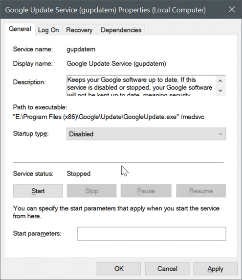 disable Google Chrome automatic updates in Windows 10 pic4
