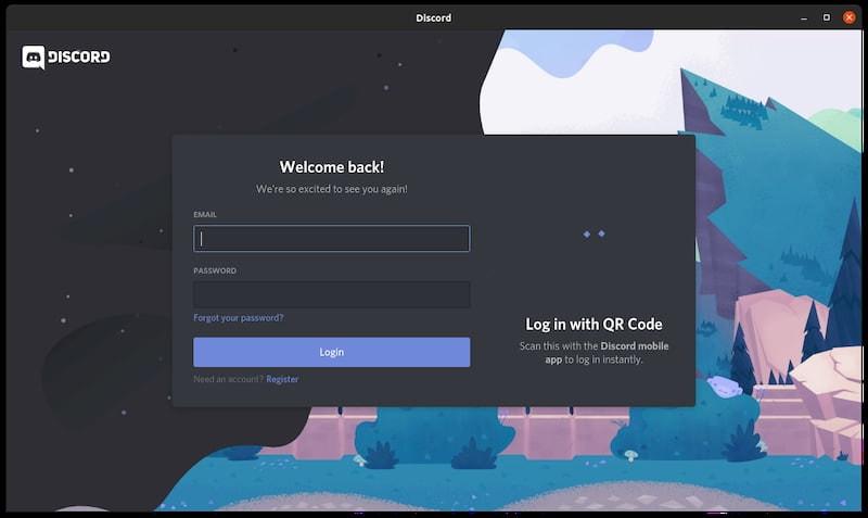 Discord Login Screen in Linux