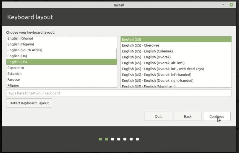 Keyboard Layout Selection Linux Mint