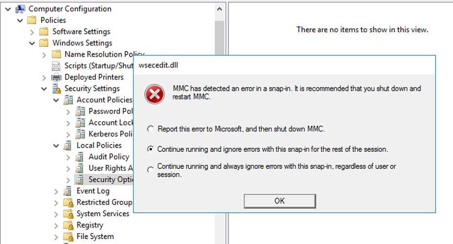 Group Policy Editor error