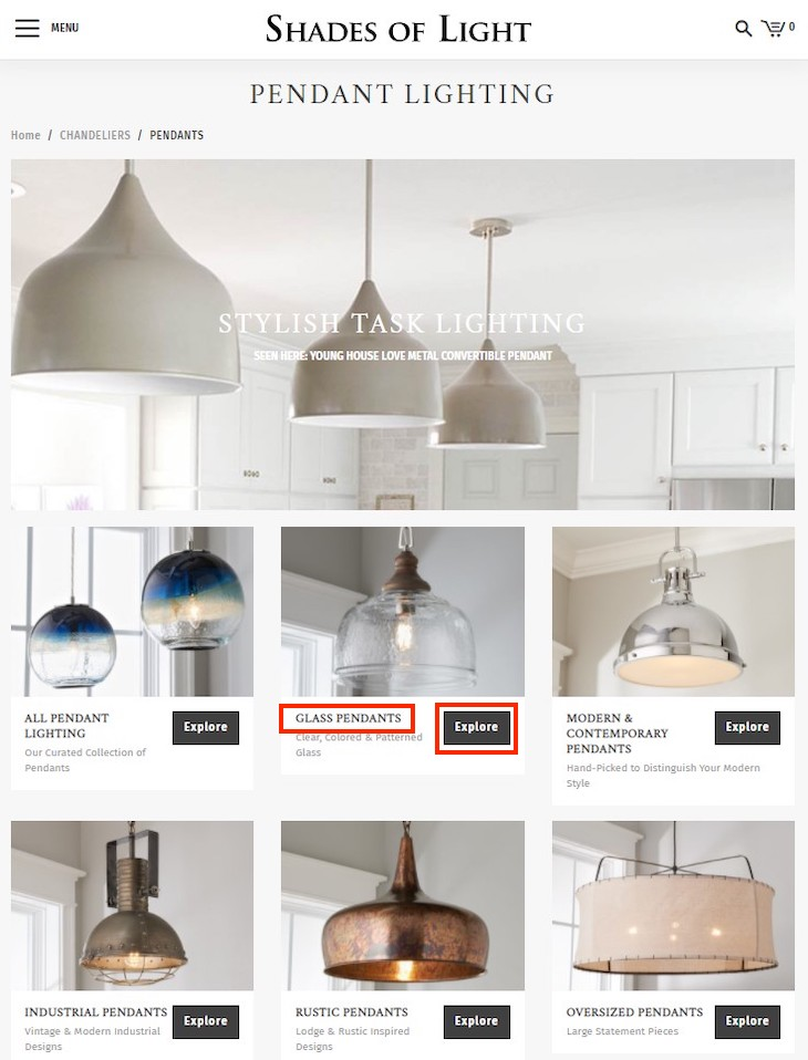 """Shades of Light links from the """"Pendant Lighting"""" category page to each subcategory using the word """"Explore,"""" which is meaningless to search engines. Importantly, however, the subcategory name, such as """"Glass Pendants."""""""