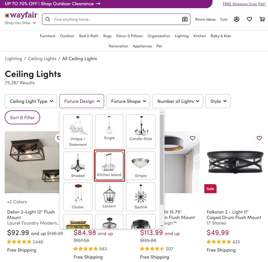 Wayfair's faceted navigation for the Ceiling Lights category sends relevance signals to the filtered subcategory pages it links to, such as the Kitchen Island page.