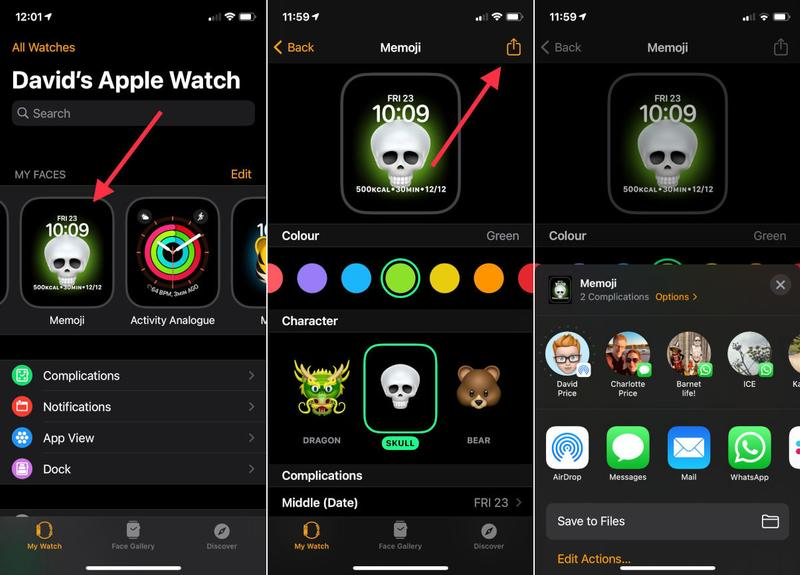 How to share Apple Watch faces in watchOS 7: iPhone sharing options