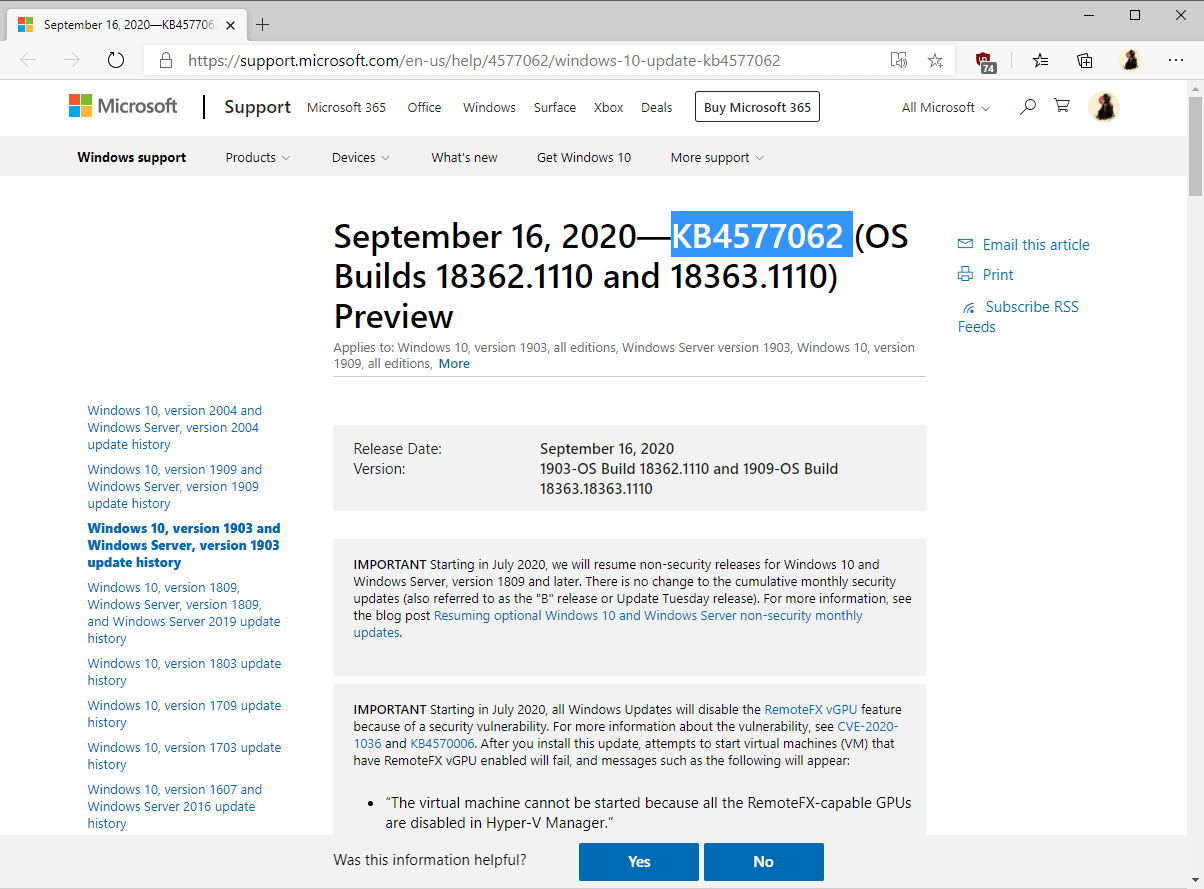windows 10-version 1903 1909 KB4577062