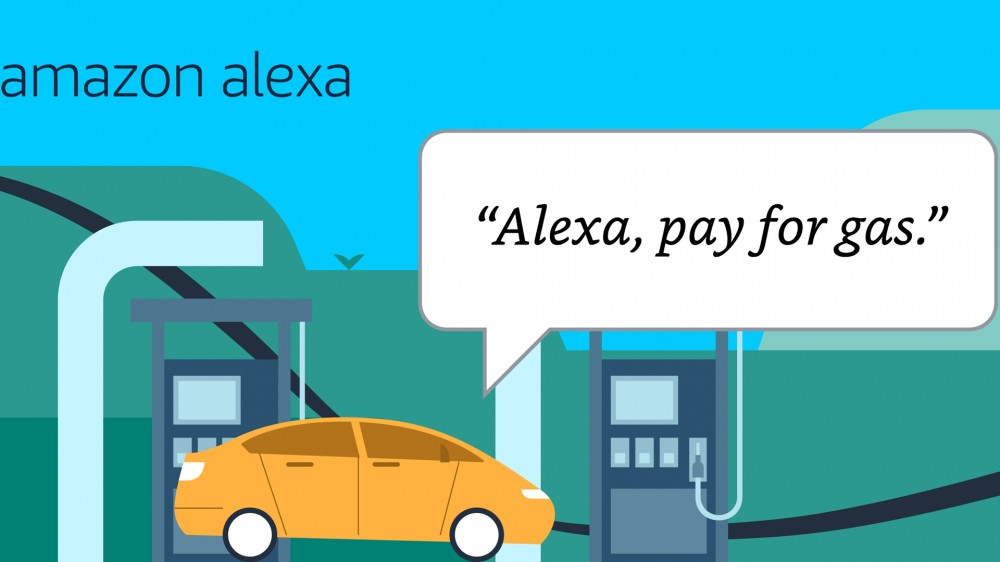 "A car at a gas station, and a person saying ""Alexa pay for gas."""