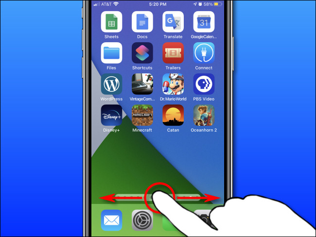 Using your finger, swipe left and right on your iPhone to quickly scrub between Home Screen pages.