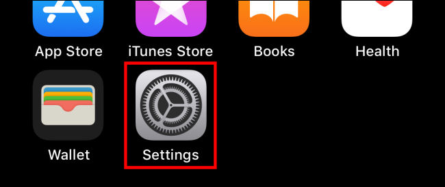 "Tap the ""Settings"" icon on iPhone"