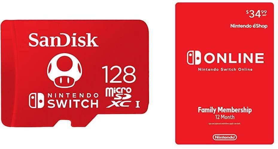 Nintendo Switch Online Family Membership + SanDisk 128GB Memory Card