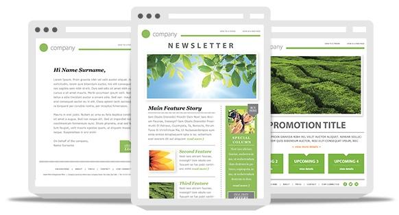 99Designs e-mail nieuwsbriefsjabloon getoond met responsief ontwerp op meerdere apparaten