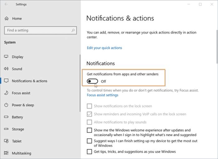 Disable desktop and action center notifications for specific apps in Windows 10 pic1